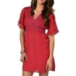 Flying Tomato Pink Lovely Rose Sheer VNeck Dress L